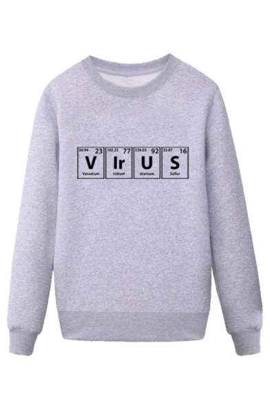 Creative Mens Periodic Table Pattern Letter Virus Pullover Long Sleeve Round Neck Regular Fitted Sweatshirt