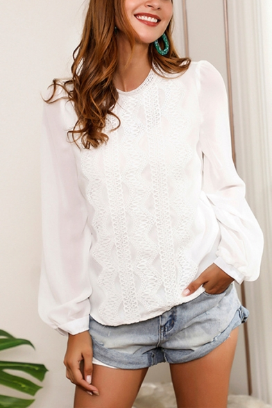 Fancy Womens Lace Trimmed Sheer Long Sleeve Crew Neck Relaxed Fit Blouse Top in White