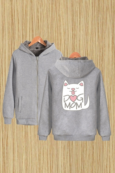 Fashionable Sherpa Lined Letter Dog Mom Cartoon Cat Graphic Long Sleeve Zipper Front Loose Hoodie for Men