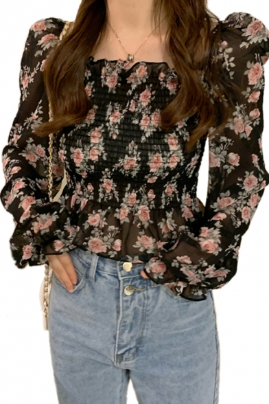 Flower All over Patterned Pleated Ruffled Puff Long Sleeve Square Neck Slim Fit Cropped Stylish Blouse for Ladies