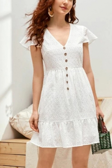Gorgeous Ladies Allover Floral Embroidered Hollow out Butterfly Sleeves V-neck Button up Ruffled Mini Pleated A-line Dress in White