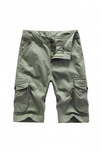 Mens Unique Shorts Solid Color Zipper Flap Pockets Button Detail Knee Length Straight Fit Chino Shorts