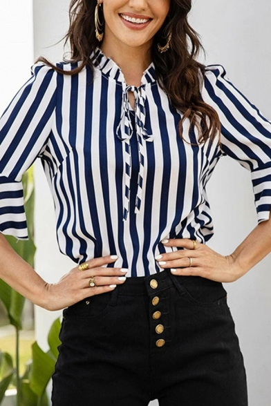 Pop Womens Striped Pattern Stringy Selvedge Button up Chiffon Tie Neck Half Ruffle Sleeve Regular Fit Pullover Shirt