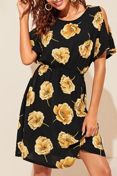 Popular Allover Flower Printed Short Sleeve Cold Shoulder Short A-line Black Dress