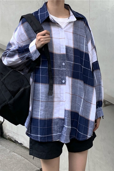 Popular Womens Plaid Print Long Sleeve Spread Collar Button down Loose Fit Shirt Top