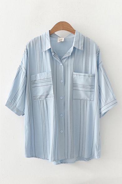 Simple Womens Striped Pockets Button Down Collar Short Sleeve Loose Fit Shirt