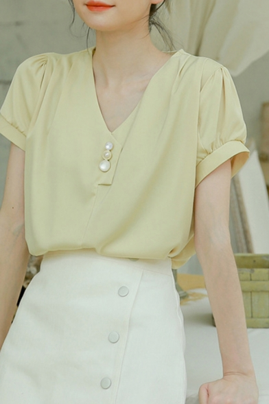 Stylish Chiffon Short Sleeve V-neck Pearl Button up Relaxed Fit Shirt in Yellow