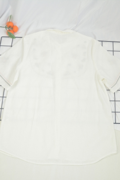 Trendy Girls Contrasted Piping Floral Embroidery Button Up Turn Down Collar Short Sleeve Regular Fit Shirt in White