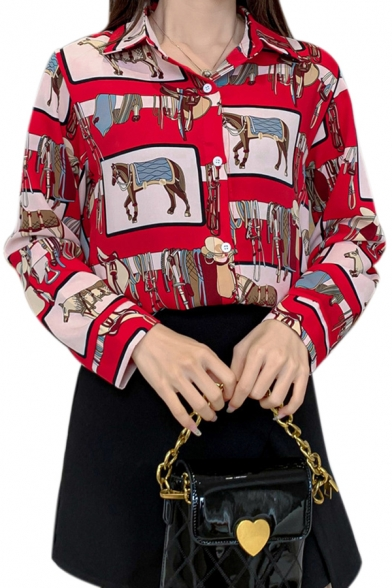 Unique Allover Horse Pattern Long Sleeve Spread Collar Button down Loose Shirt in Red