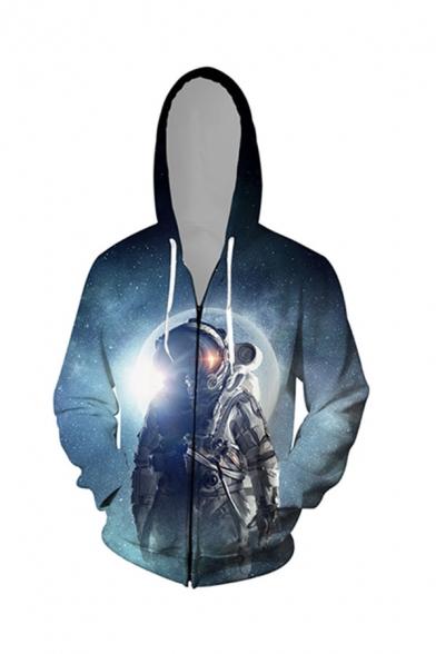 Unique Men's Astronaut 3D Print Pocket Zipper Drawstring Regular Fitted Full Sleeve Hoodie
