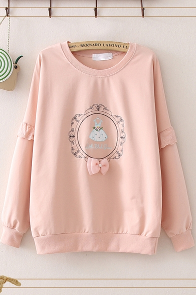 Chic Letter Little Black Dress Embroidered Lace Long Sleeve Round Neck Loose Fit Graphic Pullover Sweatshirt for Women