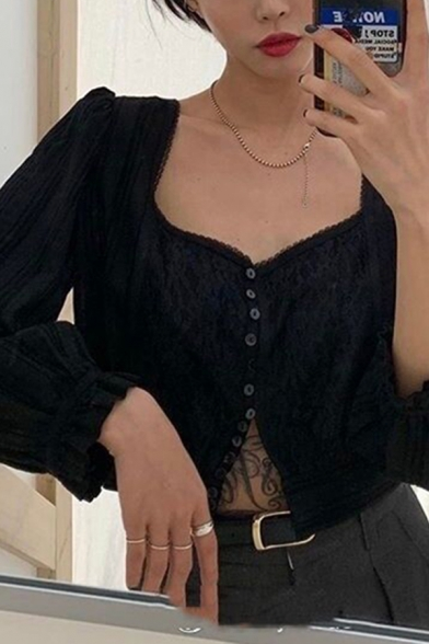 Chic Solid Color Lace Long Sleeve Sweetheart Neck Button up Regular Fit Shirt for Ladies