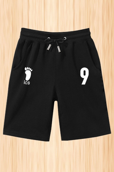 Cool Mens Letter Footprint Graphic Drawstring Waist Relaxed Fit Shorts