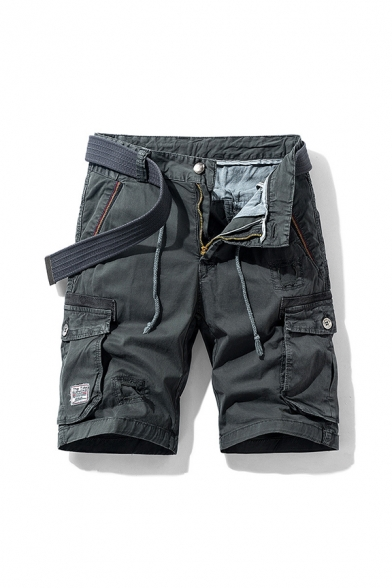 Creative Men's Shorts Patchwork Zip Fly Drawstring Button Detail Straight Fit Cargo Shorts with Flap Pocket