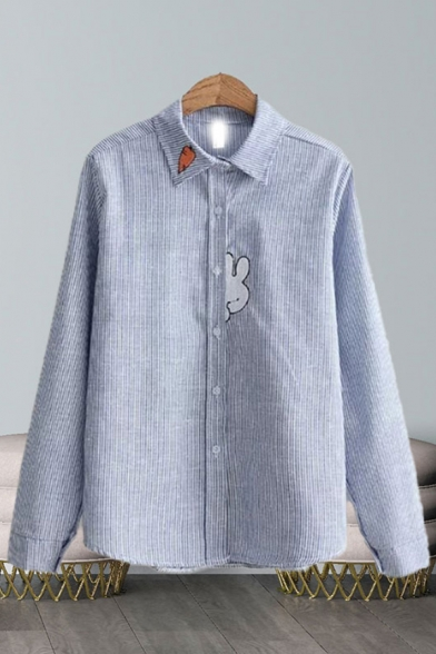 Fashion Cartoon Rabbit Carrot Embroidered Striped Long Sleeve Point Collar Button down Relaxed Shirt Top in Blue