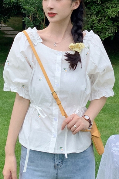 Flower Embroidery Stringy Selvedge Puff Sleeve Round Neck Button-up Drawstring Fit Fancy Shirt Top in White