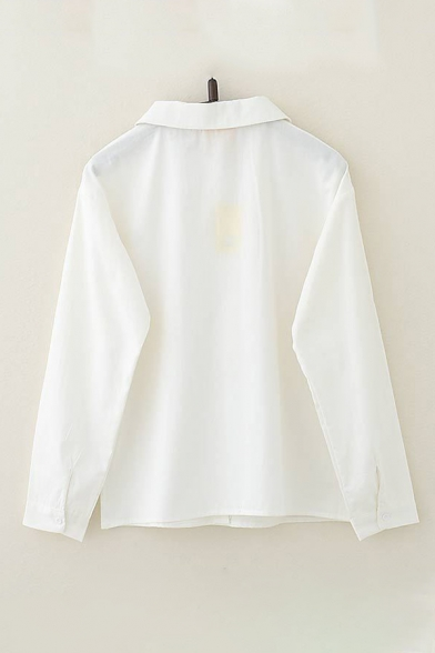 Lovely Girls Cartoon Animal Embroidered Long Sleeve Peter Pan Collar Button up Loose Fit Shirt in White