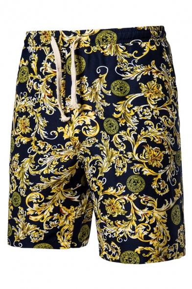 Men's Fashion Ethnic Floral Printed Drawstring Waist Casual Navy Beach Swim Shorts