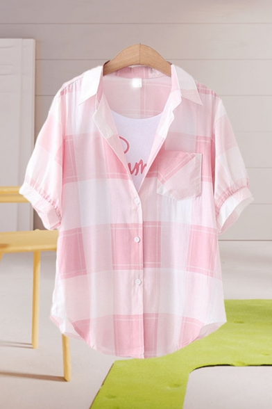 Popular Girls Plaid Printed Chest Pocket Short Sleeve Spread Collar Button down Curved Hem Loose Shirt Top
