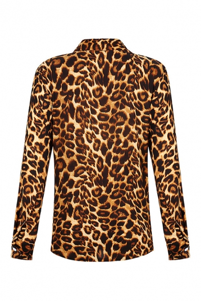 Popular Womens Leopard Snake Printed Long Sleeve Spread Collar Button down Loose Shirt Top