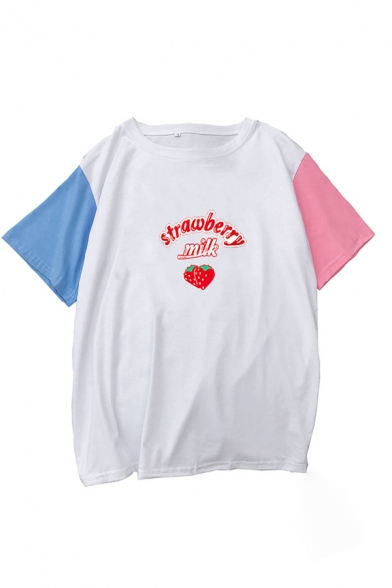 Popular Womens Letter Strawberry Milk Graphic Contrasted Short Sleeve Crew Neck Loose T-shirt