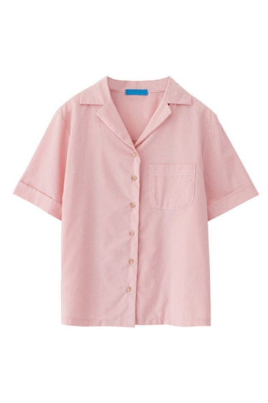 Simple Contrast Stitch Short Sleeve Notched Collar Button up Loose Fit Shirt Top for Girls