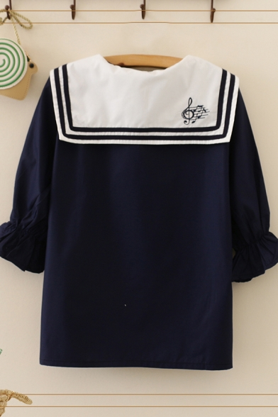 Simple Womens Chinese Letter Note Embroidered Sailor Collar Flare Short Regular Fit Shirt