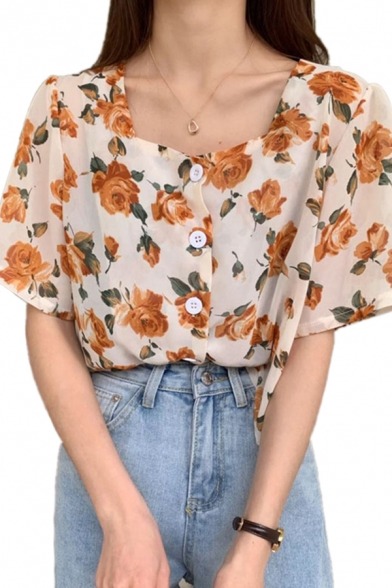 Stylish Ladies Allover Flower Print Short Sleeve Square Neck Button up Regular Shirt Top in White