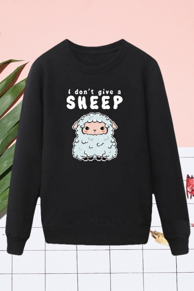 Trendy Mens Sheep Letter I Dont Give a Sheep Printed Pullover Long Sleeve Round Neck Regular Fit Graphic Sweatshirt