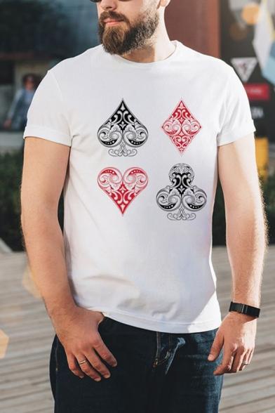 Unique Men's Poker Printed Round Neck Short Sleeve Regular Fit T-Shirt in White