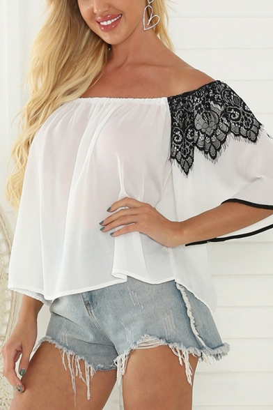 Womens Boho Lace Patched Contrast Piped Half Sleeve Off the Shoulder Semi-sheer Loose Fit T Shirt in White