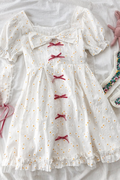 Cute Stylish Girls Daisy Embroidery Bow Patchwork Mesh Ruffle Trim Pleated Sweetheart Neck Short Puff Sleeve Midi A Line Dress in White
