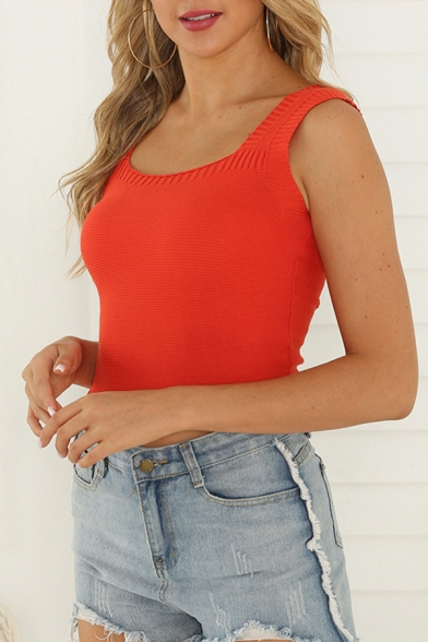 Hot Girls Knitted Scoop Neck Slim Fit Tank Top in Red