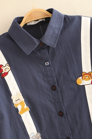 Leisure Cartoon Embroidered Tape Patched Short Sleeve Point Collar Button down Relaxed Shirt Top