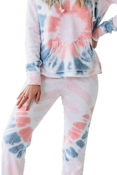 Leisure Womens Tie Dye Print Long Sleeve Drawstring Relaxed Hoodie & Cuffed Carrot Fit Sweatpants Co-ords