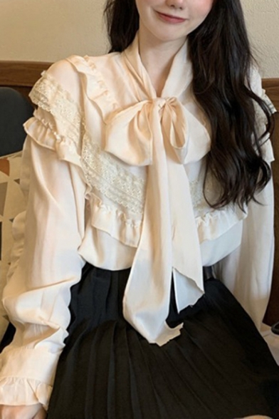 Lovely Apricot Ruffled Lace Trim Long Sleeve Bow Tied Neck Loose Fit Blouse Top for Ladies