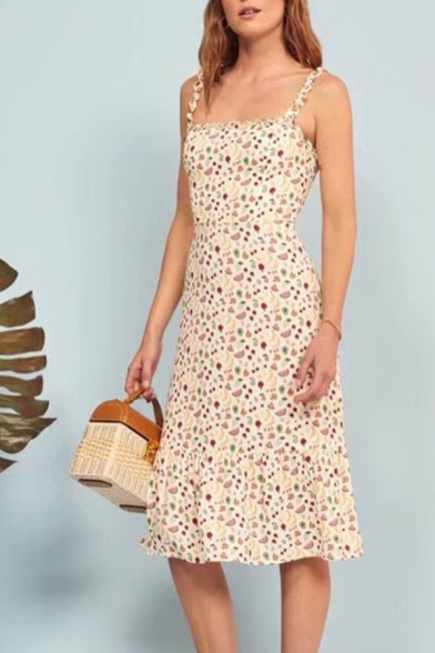 Lovely Ladies Allover Mixed Fruit Printed Spaghetti Straps Mid A-line Cami Dress in Beige