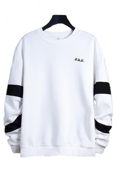 Mens Pullover Sweatshirt Retro Colorblock Letter K&K Pattern Cuffed Long Sleeve Regular Fit Crew Neck Pullover Sweatshirt
