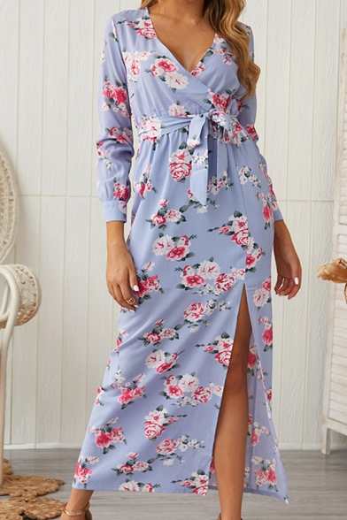 Novelty Womens All over Floral Print Bow Tie Waist Surplice Neck Long Sleeve Maxi Sheath Slit Dress in Blue