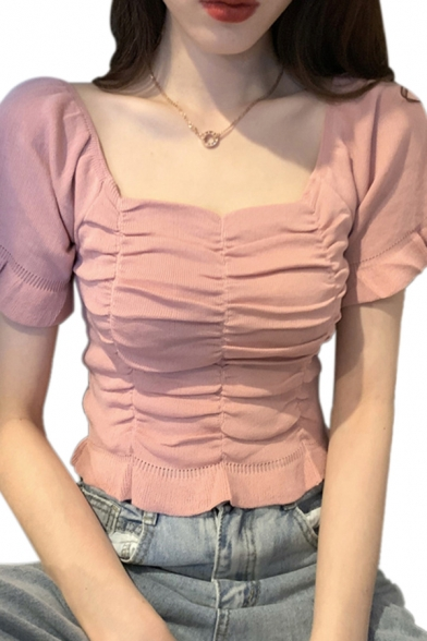 Pretty Ladies Solid Color Stringy Selvedge Puff Sleeve Sweetheart Neck Ruched Fitted Blouse Top