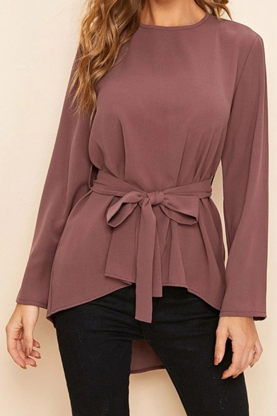 Simple Womens Long Sleeve Round Neck Bow Tied Waist High Low Hem Relaxed Blouse Top in Brown