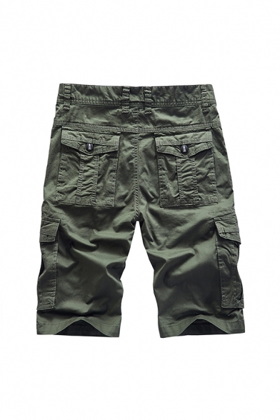 Stylish Mens Shorts Solid Color Zip Fly Button Detail Knee Length Straight Fit Cargo Shorts with Flap Pockets