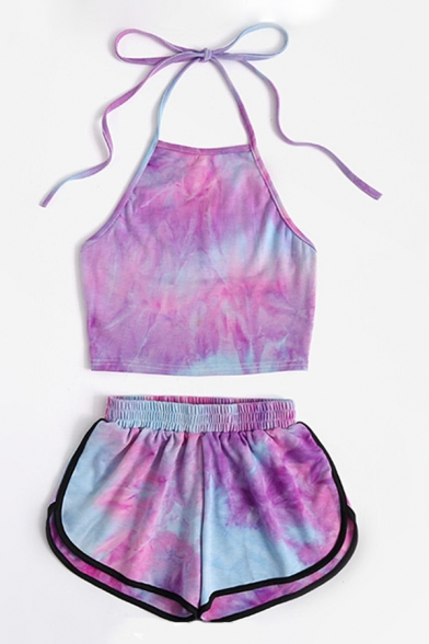 Swimming Girls Tie Dye Pattern Halter Fit Crop Cami Top & Contrasted Shorts Co-ords