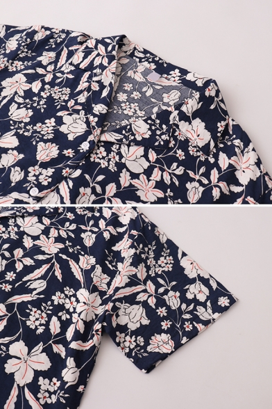 Vintage Ladies Floral Printed Button Down Lapel Collar Short Sleeve Regular Fit Tunic Shirt in Deep Blue
