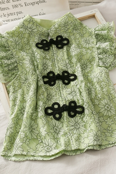 Chinese Stylish Button Down Floral Printed Stand Collar Short Frill Sleeve Regular Fit Crop Blouse for Girls
