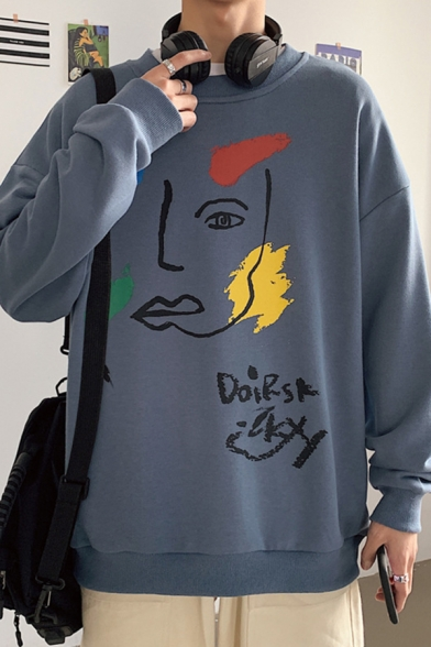 Cool Mens Character Pattern Letter Doirsk Pullover Long Sleeve Round Neck Relaxed Fitted Sweatshirt