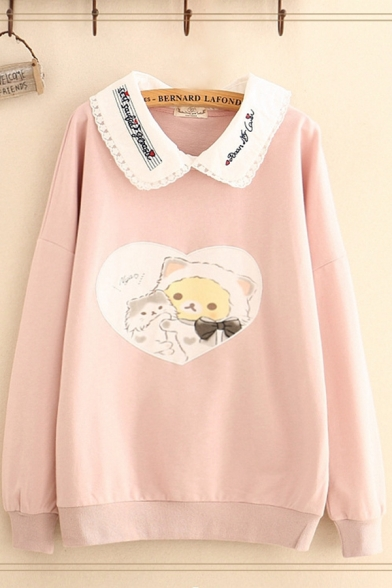 Cute Girls Bear Printed Letter Embroidered Long Sleeve Contrasted Peter Pan Collar Relaxed Pullover Sweatshirt in Pink