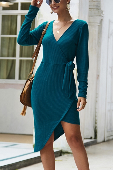 Elegant Plain Tie Waist Surplice Neck Long Sleeve Short Sheath Asymmetric Wrap Dress for Women