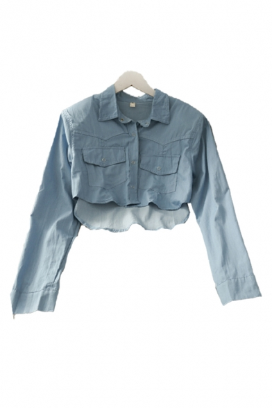 Fancy Girls Solid Color Button Down Flap Pockets Collared Long Sleeve Regular Fit High Low Cropped Blouse Top in Blue