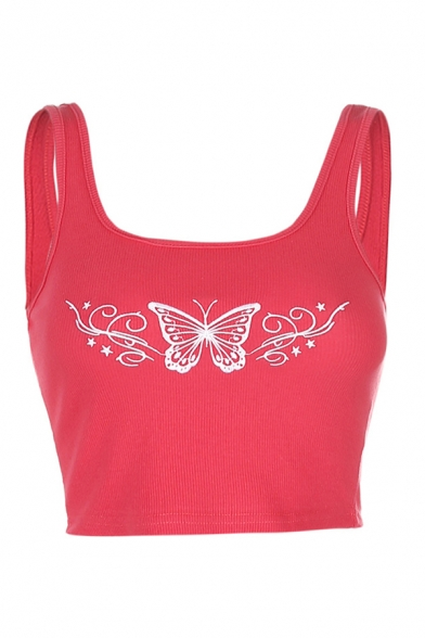 Fashion Girls Butterfly Embroidered Scoop Neck Slim Fit Crop Knitted Tank Top in Red